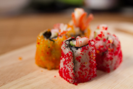 with fillings: Crab roe sushi fillings wrapped eggs.