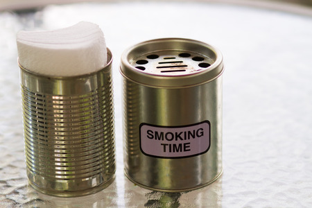 tinned goods: Can on The The For Smoking Area Stock Photo