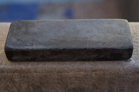 honing: Stone for sharpening a kitchen knife.