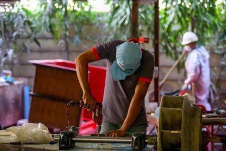 fibra de vidrio: la silla y el remo de fibra de vidrio fábrica de Tailandia.