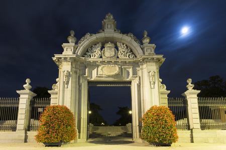 monumental: monumental gate entrance dedicated to Felipe IV in El retiro in Madrid