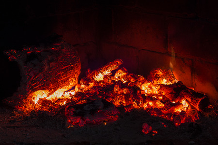 embers: wood embers in a fireplace Stock Photo