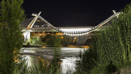 modern bridge over river in galicia