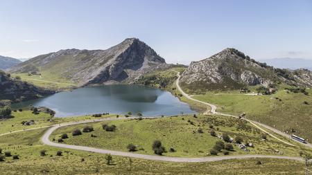 lake of covadonga in asturias Stock Photo