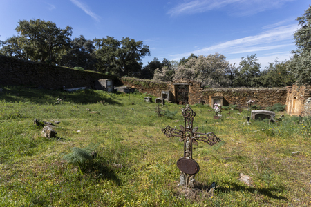 old abandoned cemetery on the outskirts of a village in extremadura