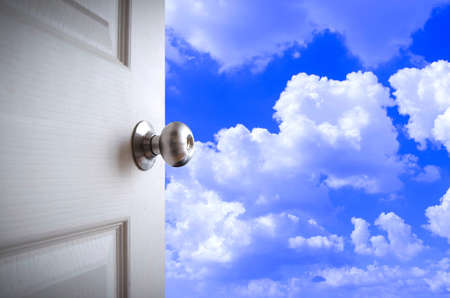 door knob: open door to the sky Stock Photo