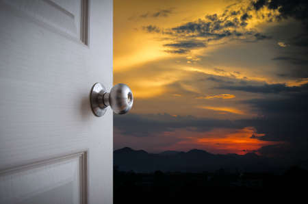 open door to watch sunset