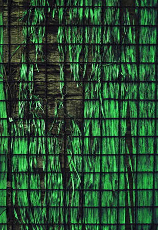 green glass and net on wood texture