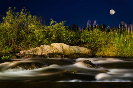 night water flow landscape with full moon