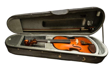 violin case and violin isolated on white background
