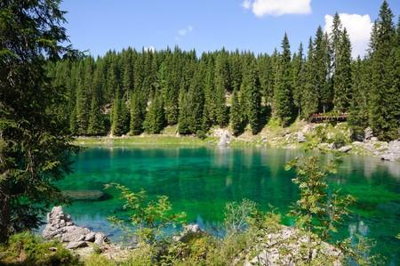 dolomites: Lake Carezza - Dolomites, Italy Stock Photo