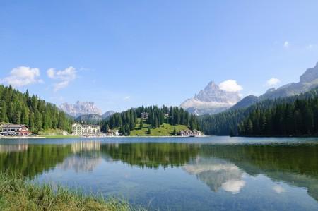 Jezioro Misurina i Tre Cime di Lavaredo - Dolomity, WÅ'ochy Zdjęcie Seryjne