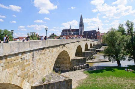 regensburg: Stone Bridge and Old Town - Regensburg, Germany Stock Photo