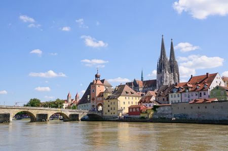 Old Town and the Danube - Regensburg, Germany Stock Photo - 8230194