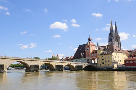 Altstadt und der Donau - Regensburg, Deutschland Standard-Bild