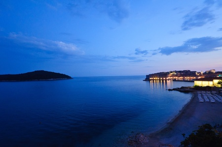 Night view of Banje Beach and Old Town - Dubrovnik, Croatia
