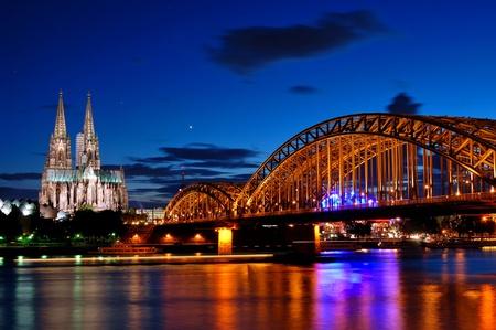 Cathedral and Hohenzollern Bridge -  CologneKöln, Germany Stock Photo