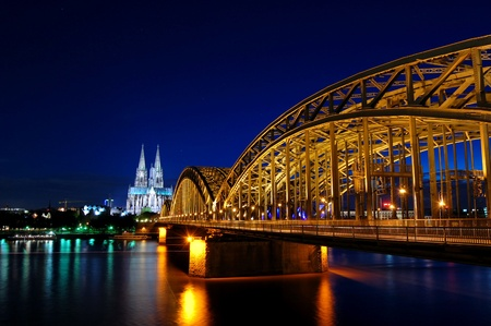 rhine westphalia: Cathedral and Hohenzollern Bridge -  CologneKöln, Germany Stock Photo