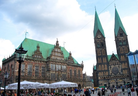 old town townhall: City Hall and St.Peters Cathedral - Bremen, Germany Stock Photo