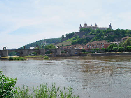 main river: Fortress Marienberg and Main River - Würzburg, Germany Stock Photo