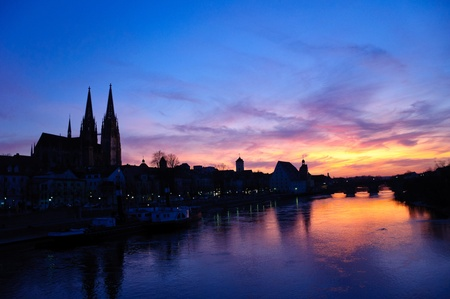 Old Town of Regensburg at sunset, Germany