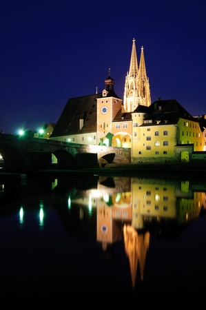 Old Town of Regensburg in the twilight, Germany photo