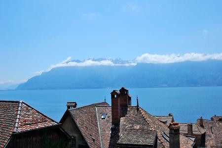 Village of Lakeside Geneva and Alps - Switzerland photo