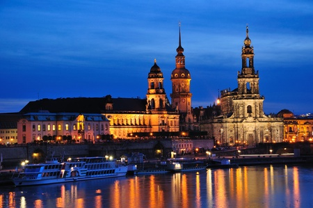 dresden: Night view of Dresden, Germany Stock Photo