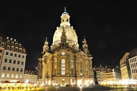 frauenkirche: Frauenkirche bei Nacht - Dresden, Deutschland