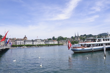 middle ages boat: Lucerne, Switzerland