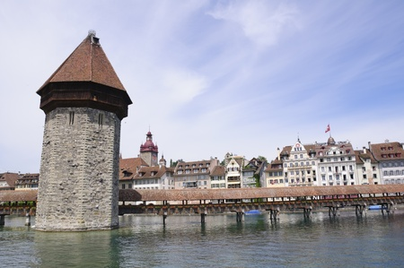middle ages boat: Chapel Bridge in Lucerne, Switzerland