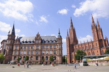 neo gothic: Marktplatz in Wiesbaden, Germany Editorial