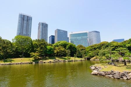 tourisms: Hamarikyu Gardens in Tokyo, Japan Stock Photo