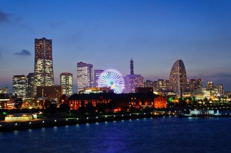 Minato Mirai 21 in der Abenddämmerung in Yokohama, Japan Lizenzfreie Bilder