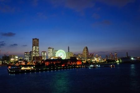 Minato Mirai 21 at dusk in Yokohama, Japan photo