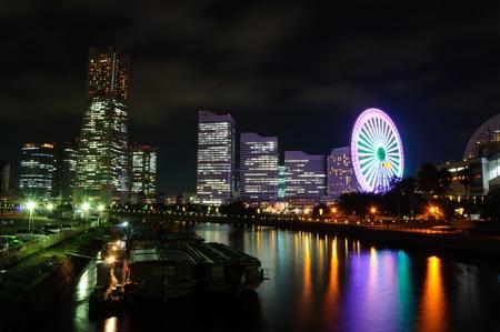 Minato Mirai 21 w nocy w Yokohama, Japonia Zdjęcie Seryjne