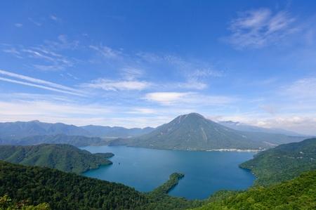 Lake Chuzenji and Mt.Nantai in Nikko, Japan Stock Photo