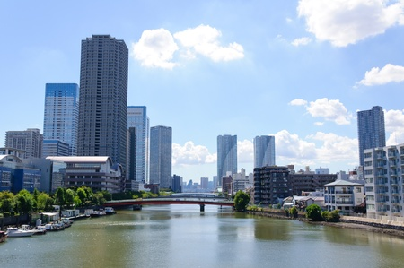 Tsukuda Bezirk in Tokio Lizenzfreie Bilder
