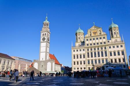 Rathaus und Perlachturm in Augsburg, Deutschland