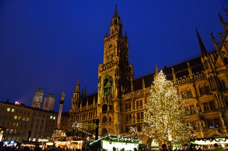 old town townhall: Christmas illuminations in Munich, Germany Editorial