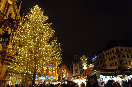 old town townhall: Christmas illuminations in Munich, Germany Stock Photo