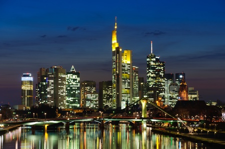 Frankfurt am Main, Germany in the twilight