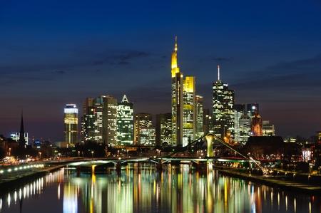 Frankfurt am Main, Germany in the twilight