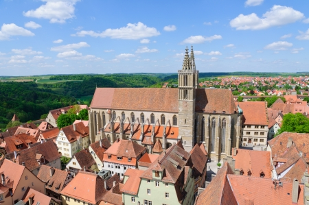 st james s: St  James s Church and the Cityscape of Rothenburg ob der Tauber, Germany Stock Photo