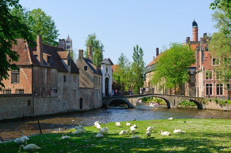 Canal and Beguinage in Bruges, Belgium Editorial