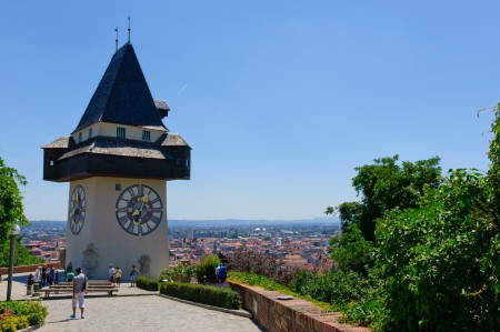 Clock Tower and the Historic district of Graz in Austria Editorial