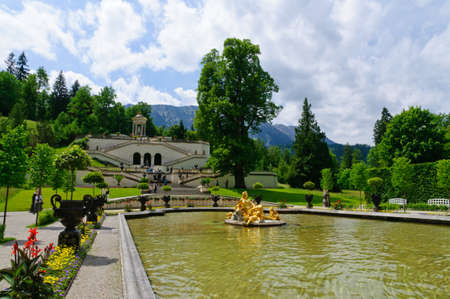 ettal: Garden of the Linderhof Palace in Germany Editorial