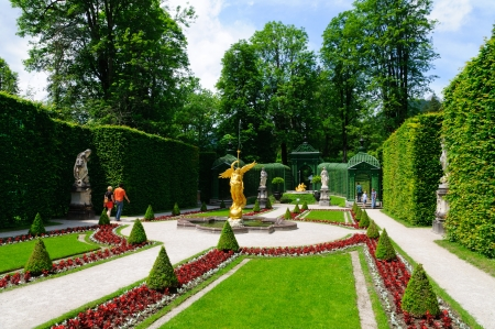 ettal: Garden of the Linderhof Palace in Germany Stock Photo