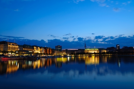 Night view of the Old city of Hamburg and the Alster