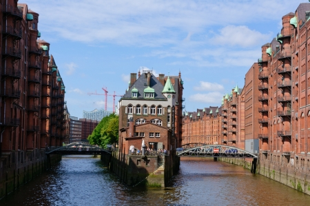 Warehouse district and the Port of Hamburg photo